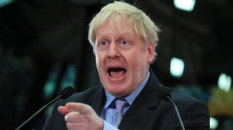 Boris Johnson speaking at the headquarters of JCB in Rocester, Staffordshire.