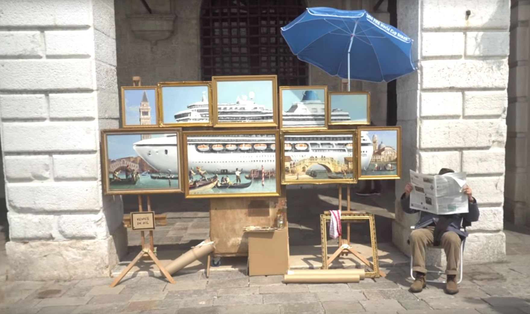 Banksy Takes Shot At Overtourism With Venice Biennale Stall Stunt