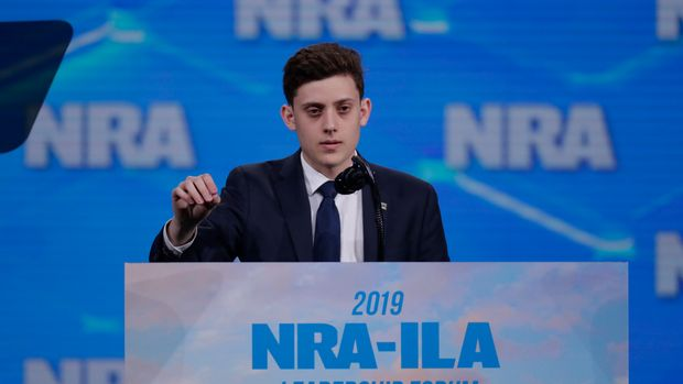 Kyle Kashuv, survivor of the Stoneman Douglas High School shooting, speaks at the National Rifle Association Institute for Legislative Action Leadership Forum in Lucas Oil Stadium in Indianapolis, Friday, April 26, 2019. (AP Photo/Michael Conroy)