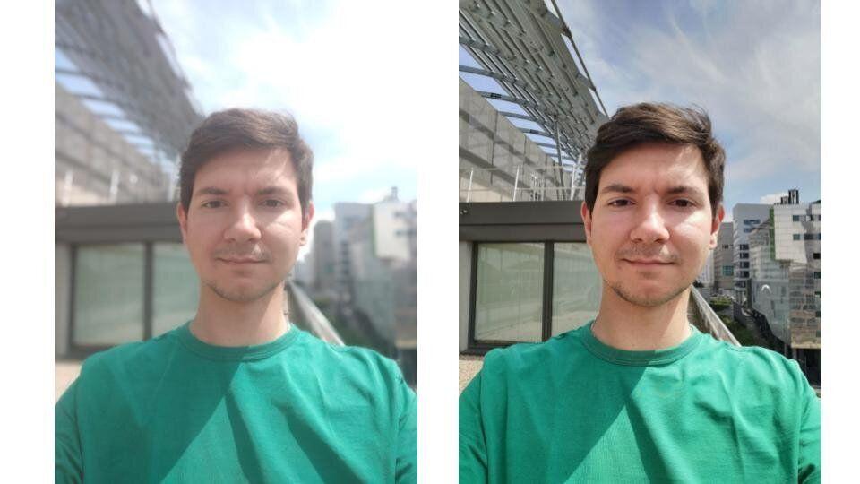A gauche, le selfie avec le Oppo Reno. A droite, avec le Huawei P30