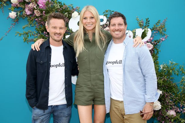 Goop CEO Gwyneth Paltrow poses withDr. Will Cole, left, and Seamus Mullen, the co-hosts of the...
