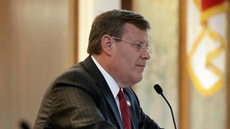 North Carolina House Speaker Tim Moore, R-Cleveland, listens during a special session at the General Assembly in Raleigh, N.C., Tuesday, July 24, 2018. The North Carolina legislature has called itself into an unscheduled session starting Tuesday because some Republican leaders fear a Democratic-controlled panel could add ballot wording for proposed constitutional amendments that dim their chance of passage in November. (AP Photo/Gerry Broome)