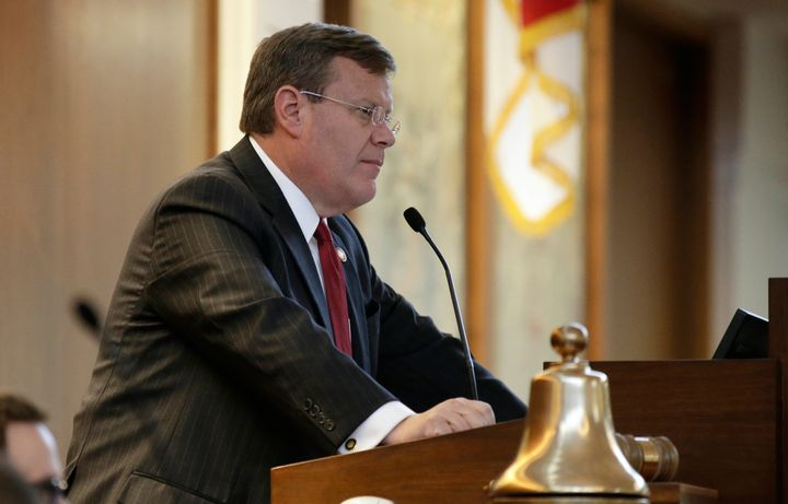 North Carolina House Speaker Tim Moore (R) listens during a special session at the General Assembly in Raleigh, North Carolin