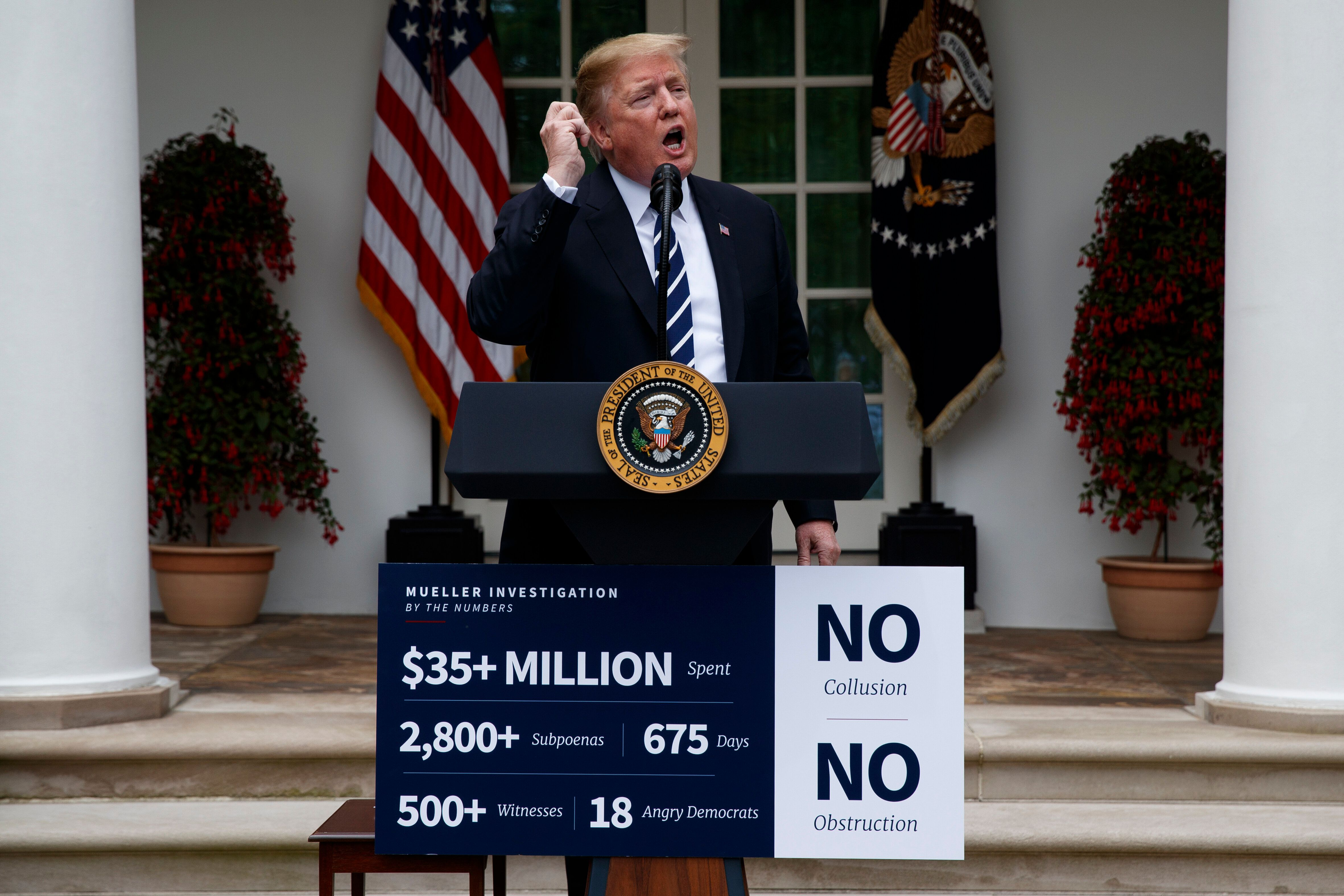 President Donald Trump delivers a statement in the Rose Garden of the White House, Wednesday, May 22, 2019, in Washington. (AP Photo/Evan Vucci)