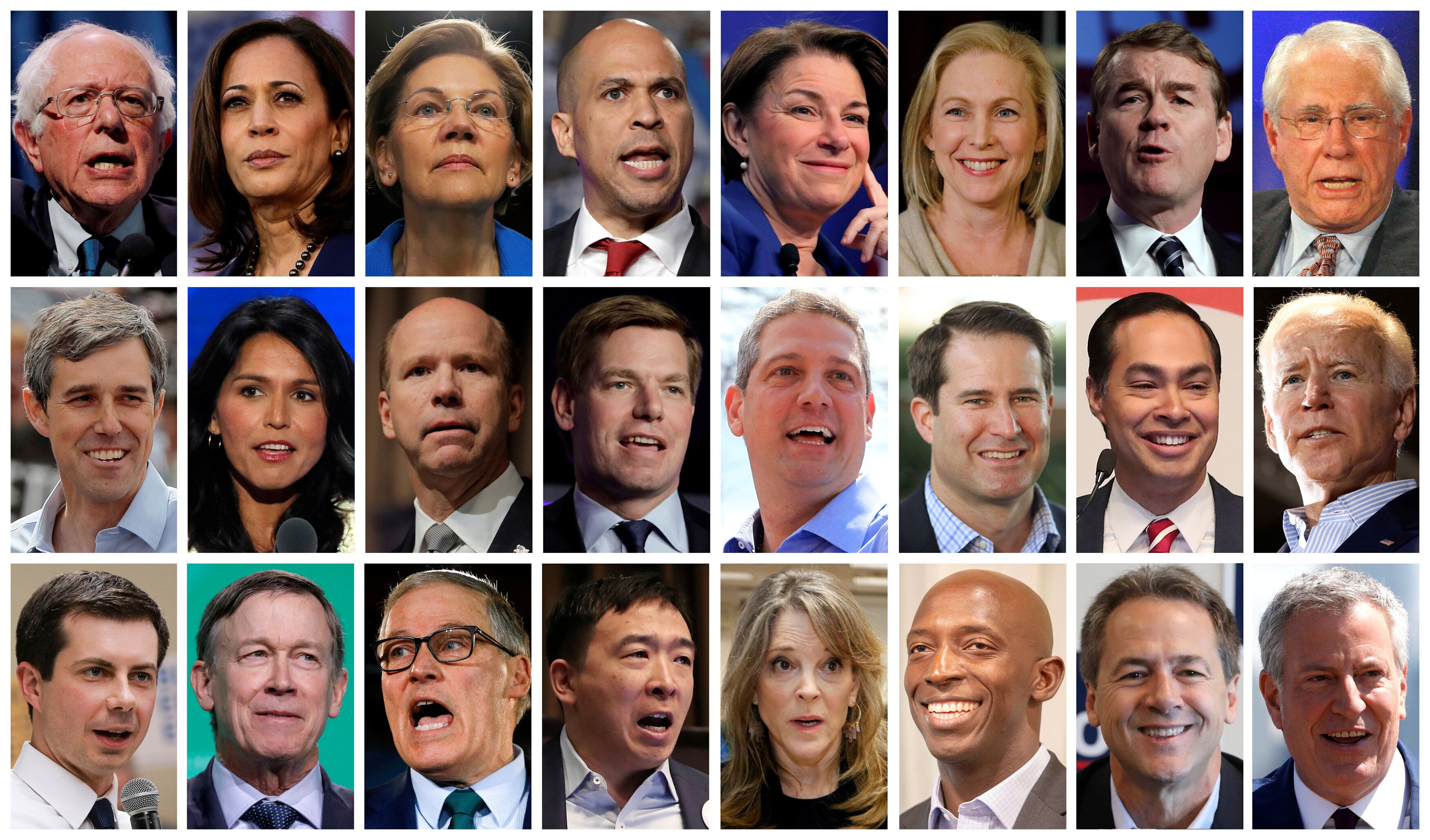 Twenty four 2020 Democratic presidential candidates are seen in a combination from file photos (L-R top row): U.S. Senators Bernie Sanders, Kamala Harris, Elizabeth Warren, Cory Booker, Amy Klobuchar, Kirsten Gillibrand, Michael Bennet and former U.S. Senator Mike Gravel. (L-R middle row): Former Texas congressman Beto O'Rourke, U.S. Representatives Tulsi Gabbard, John Delaney, Eric Swalwell, Tim Ryan, Seth Moulton, former HUD Secretary Julian Castro and former U.S. Vice President Joe Biden. (L-R bottom row): Mayor Pete Buttigieg, Former Gov. John Hickenlooper, Gov. Jay Inslee, Andrew Yang, Marianne Williamson, Mayor Wayne Messam, Montana Gov. Steve Bullock and New York City Mayor Bill de Blasio.   REUTERS/Files