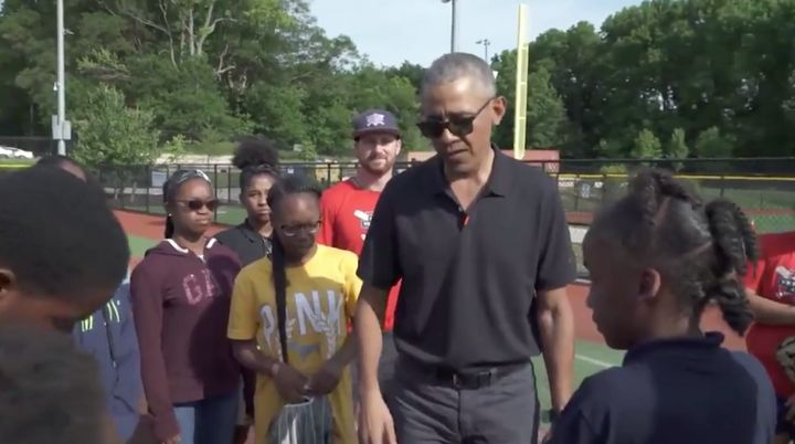 Former President Barack Obama visits kids in the Washington Nationals Youth Baseball Academy's after-school program.