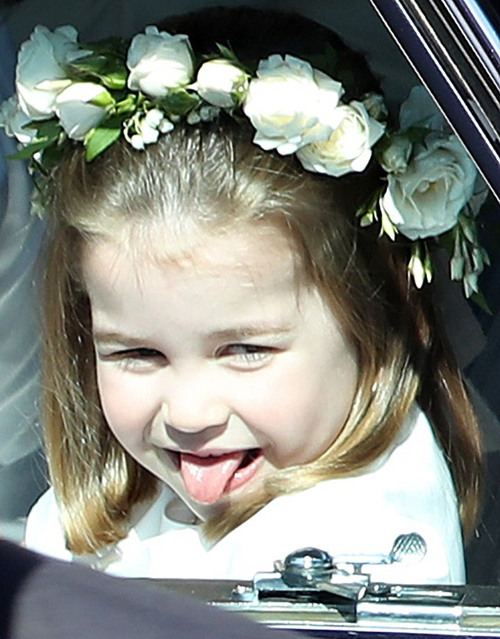 Princess Charlotte arrives for the wedding ceremony of Prince Harry and Meghan Markle at St George's Chapel, Windsor Castle,