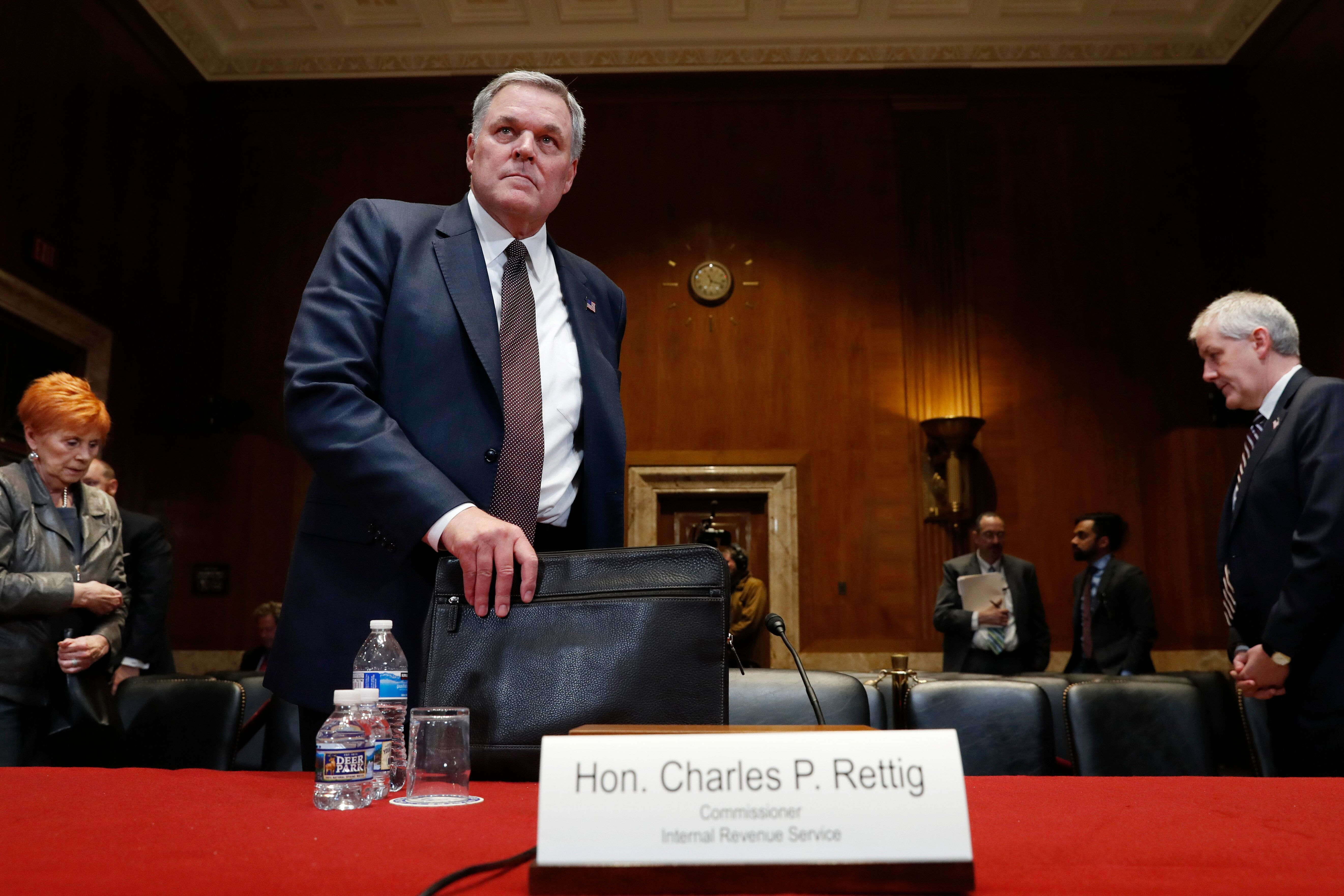 IRS Commissioner Charles Rettig arrives to testify about the budget during a Financial Services and General Government subcommittee hearing, Wednesday May 15, 2019, on Capitol Hill in Washington. (AP Photo/Jacquelyn Martin)