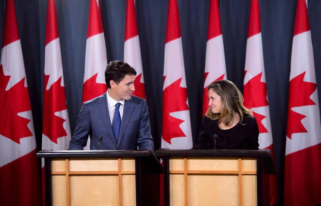 Prime Minister Justin Trudeau and Foreign Affairs Minister Chrystia Freeland hold...