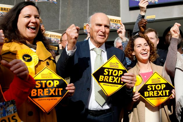 Lib Dem leader Vince Cable with party