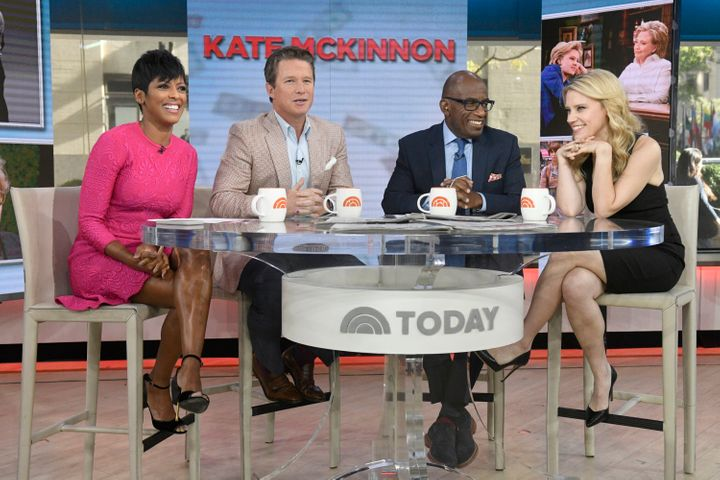 "Anchors Tamron Hall, Billy Bush and Al Roker with Kate McKinnon on ""Today"" in 2016."