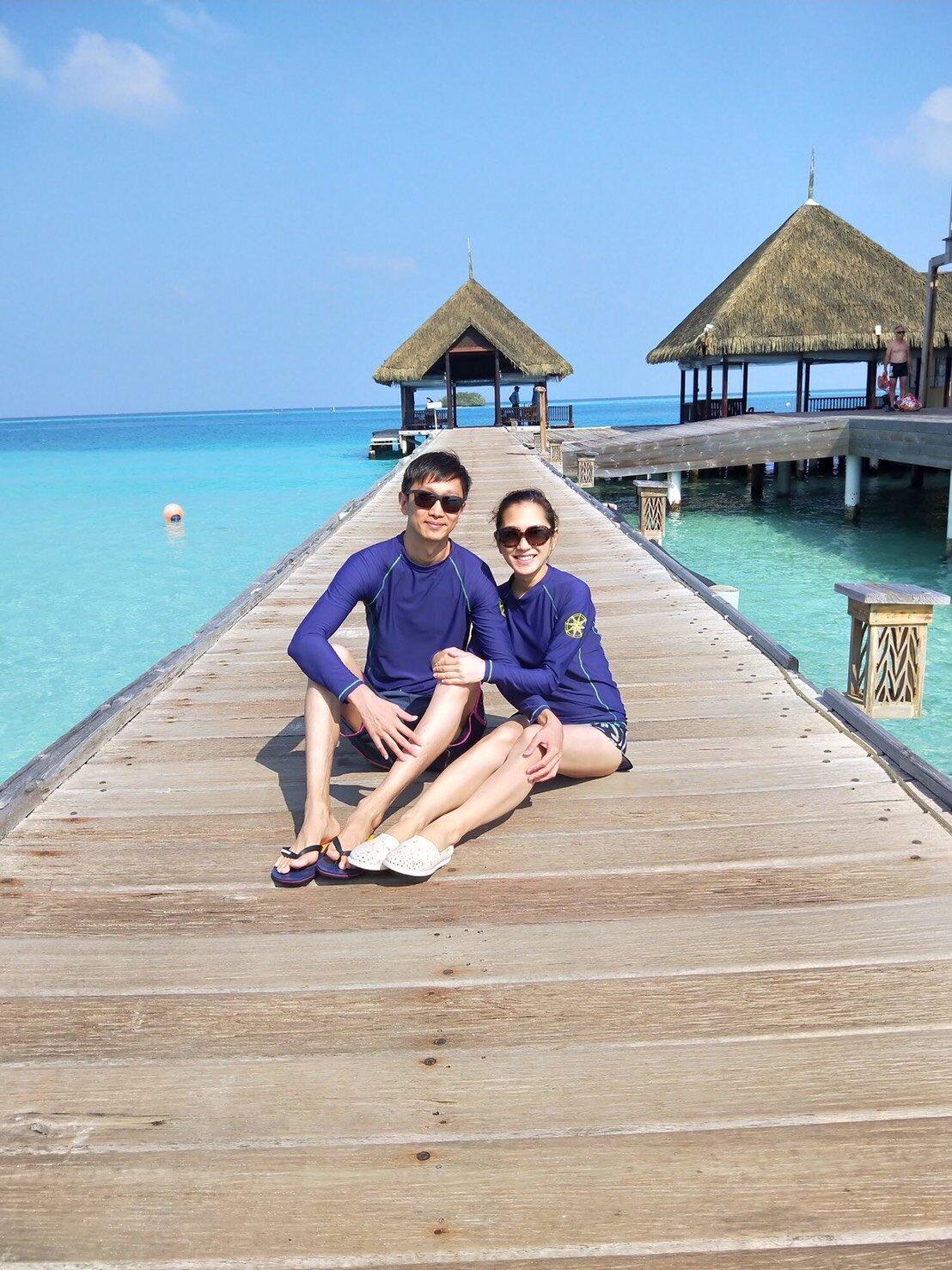 ▲楊千霈與先生在馬爾地夫買到機能性強的潛水衣。