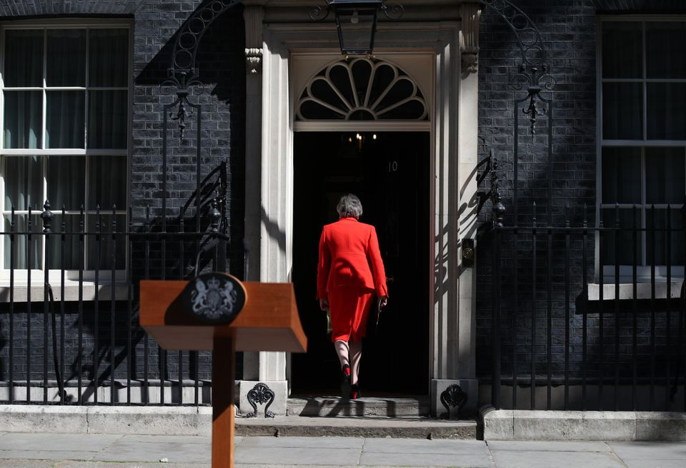 Prime Minister Theresa May leaves after making a statement outside at 10 Downing Street in London, where she announced she is standing down as Tory party leader on Friday June 7.