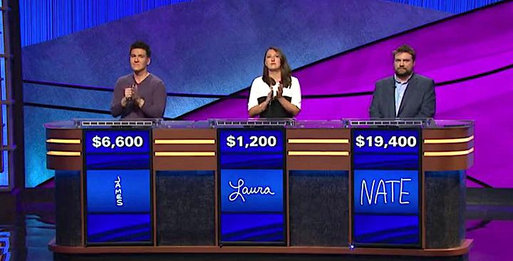 James Holzhauer fell behind by $12,800 to strong challenger Nate Scheffey.