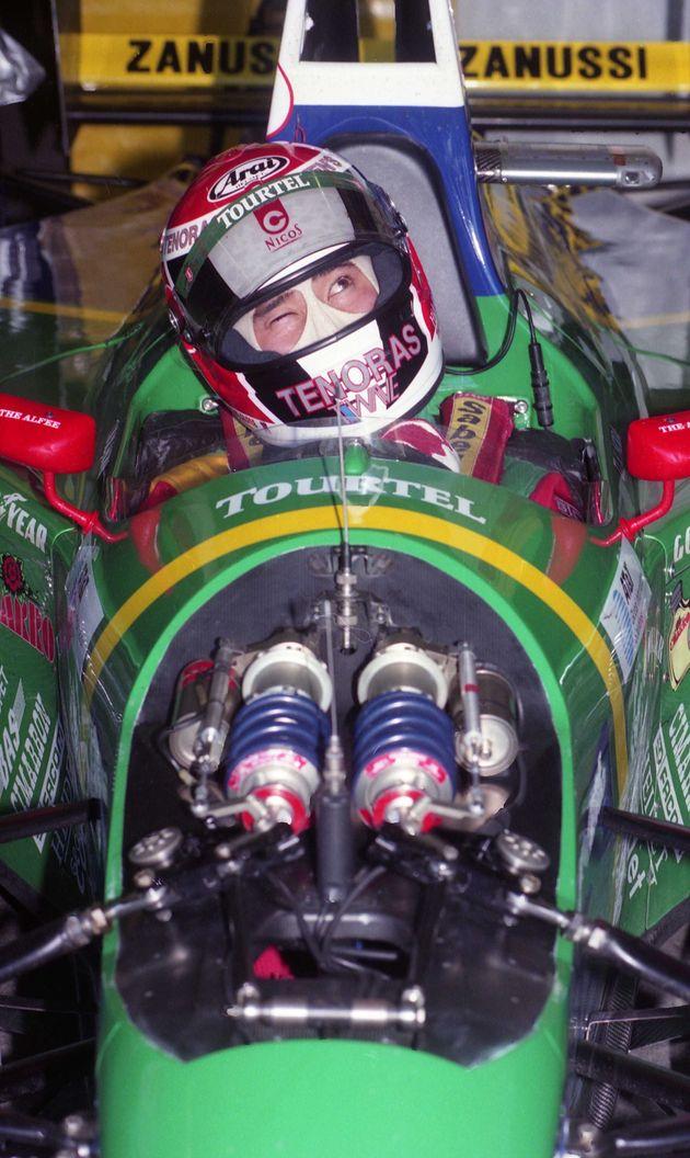 父・野田英樹さん。1994年11月F1日本グランプリ。スポット参戦ながら活躍が期待されるラルース・フォードの野田英樹(三重県・鈴鹿サーキット)