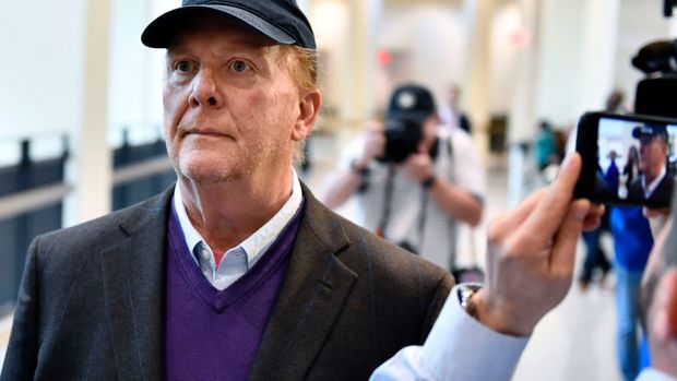 Chef Mario Batali arrives for arraignment, Friday, May 24, 2019, at municipal court in Boston, on charges he forcibly kissed and groped a woman at a Boston restaurant in 2017. (AP Photo/Josh Reynolds)