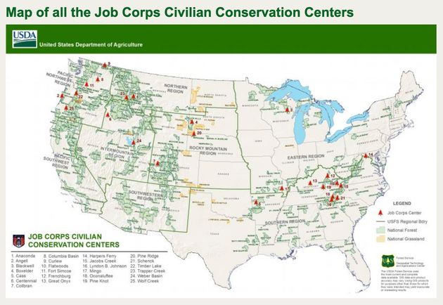Locations of the Job Corps Civilian Conservation