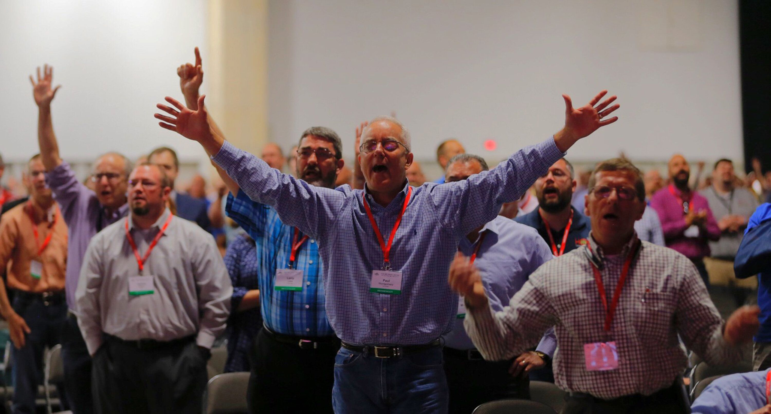 Messengers worship God, singing after a sermon by the Rev. Steve Gaines, the current president, on Tuesday, June 12, 2018 at the 2018 annual meeting of the Southern Baptist Convention in Dallas, Texas. (Rodger Mallison/Fort Worth Star-Telegram/TNS via Getty Images)