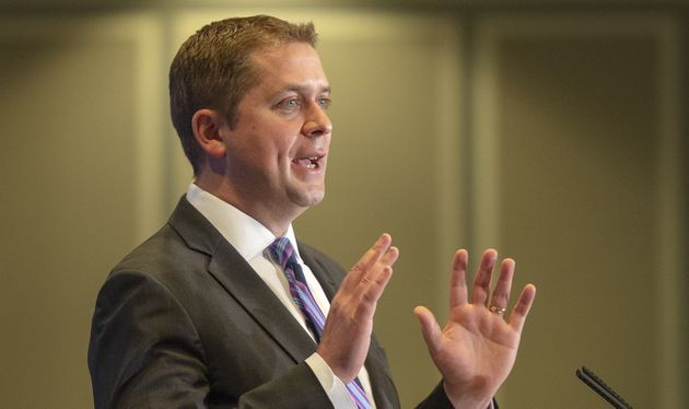 Conservative Leader Andrew Scheer addresses the Montreal Council on Foreign Relations on May 7,