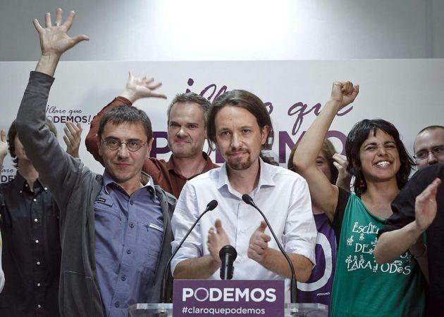 Podemos celebra los cinco eurodiputados logrados en