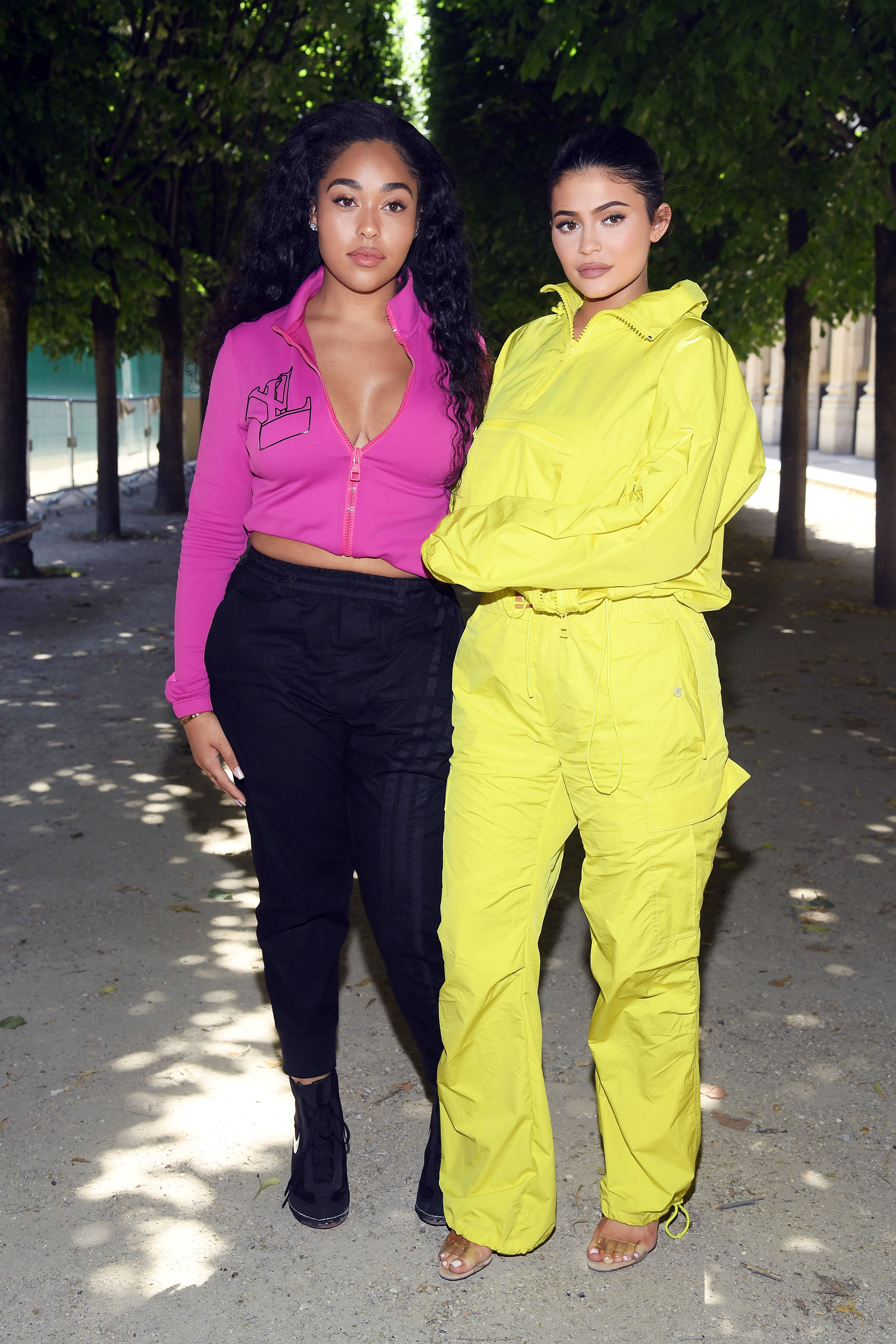 PARIS, FRANCE - JUNE 21: Jordyn Woods  and Kylie Jenner attend the Louis Vuitton Menswear Spring/Summer 2019 show as part of Paris Fashion Week on June 21, 2018 in Paris, France.  (Photo by Pascal Le Segretain/Getty Images)