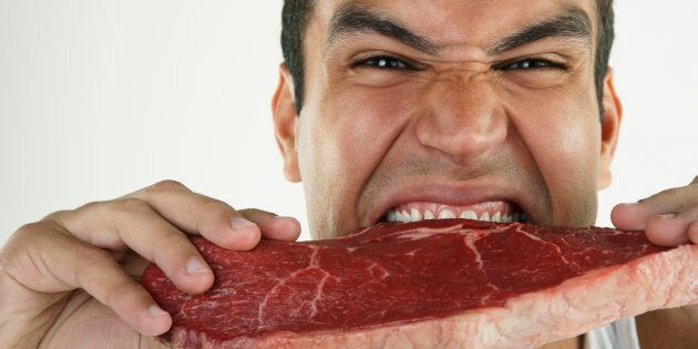 Eating more than two fist-size amounts of red meat per week increases the risk.