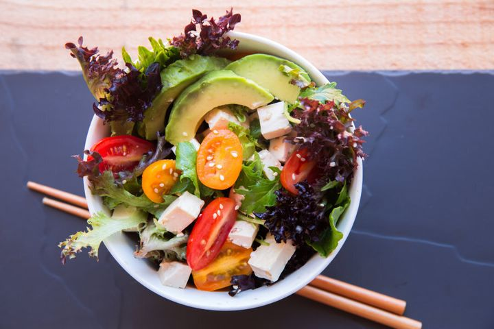 Including a tofu and veggie salad is a great way to increase gut-friendly fibre while still getting enough protein.