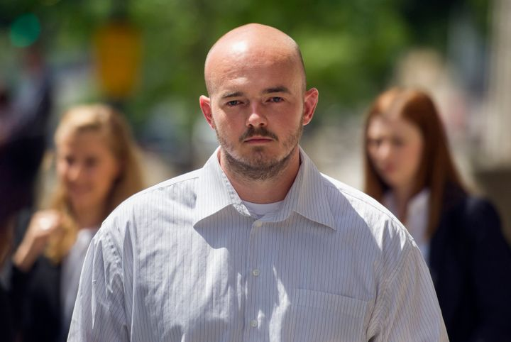 Former Blackwater Worldwide guard Nicholas Slatten leaves federal court in Washington after the start of his first-degree mur
