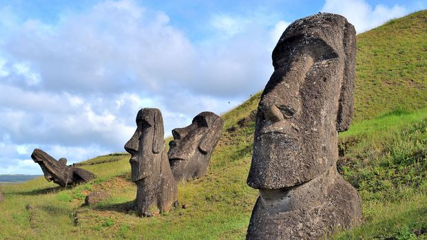 Easter Island, Rapa Nui: Moais, typical statues from Easter Island, monolithic human figures. (Photo by: Andia/ UIG via Getty Images)