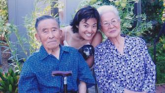 Dr. Koko Nishi (center) and her grandparents. Her grandmother (right) taught her the Japanese value of gaman, to persevere through challenging times.