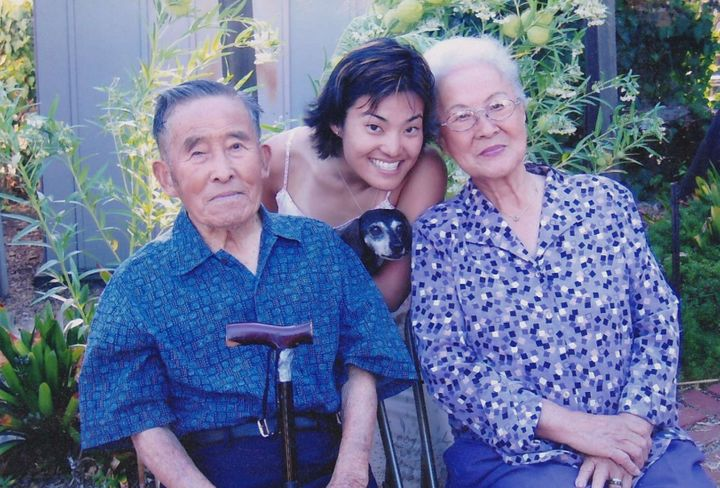 Dr. Koko Nishi (center) and her grandparents. Her grandmother (right) taught her the Japanese value of gaman, to persevere th