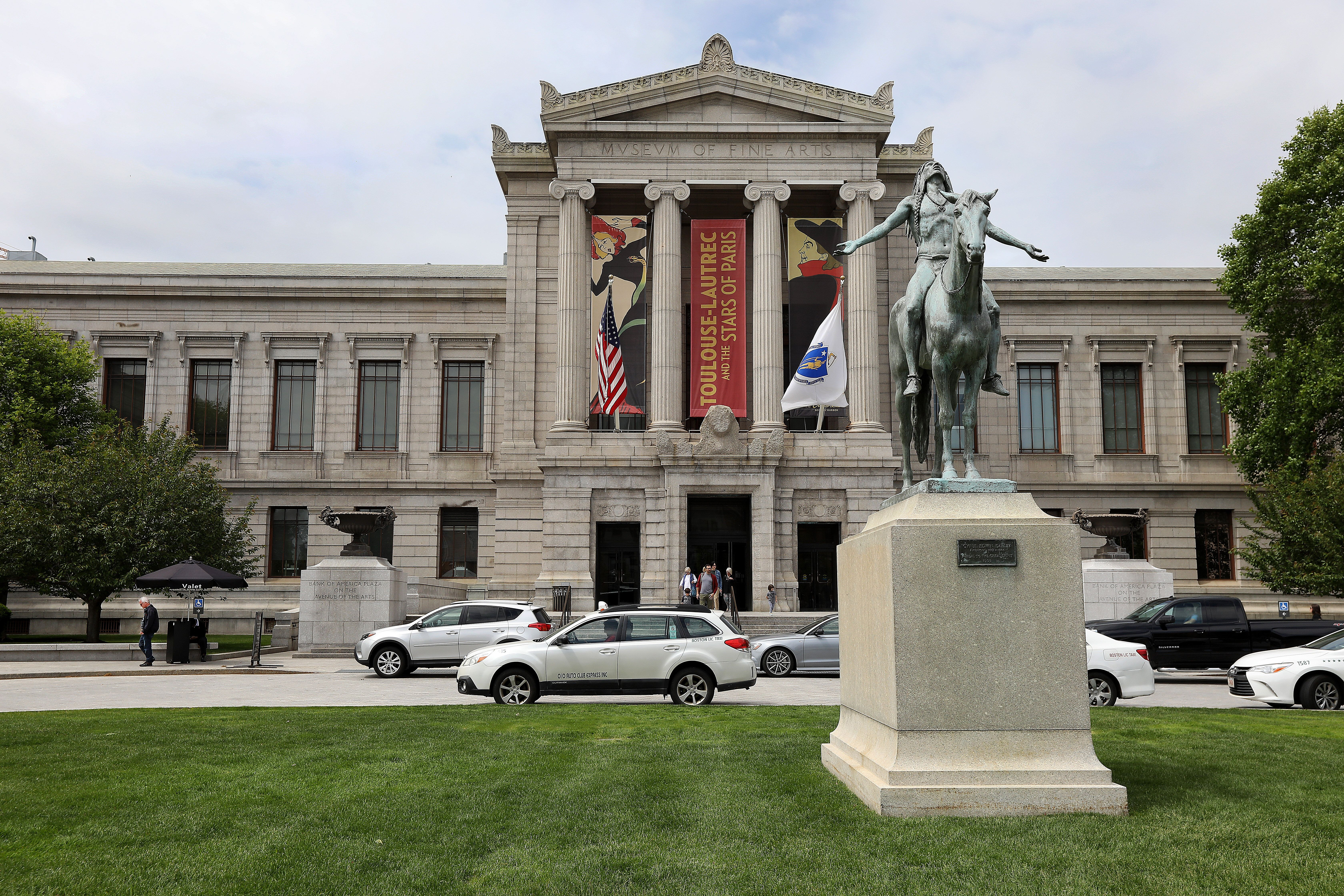 BOSTON, MA - MAY 23: The exterior of the Museum of Fine Arts, Boston is pictured on May 23, 2019. (Photo by Pat Greenhouse/The Boston Globe via Getty Images)