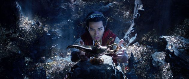 Mena Massoud, as Aladdin with his eye on the
