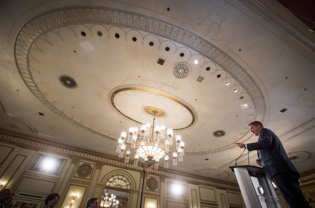 Conservative Leader Andrew Scheer speaks at an event hosted by the Canadian Club of Vancouver, in Vancouver,...