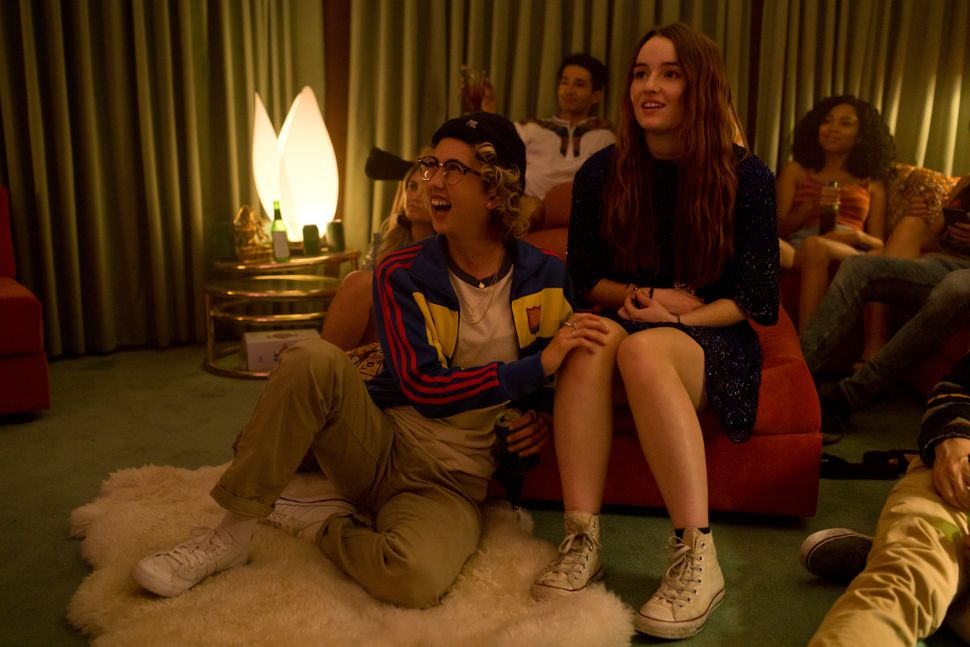 "Victoria Ruesga and Kaitlyn Dever in ""Booksmart."""