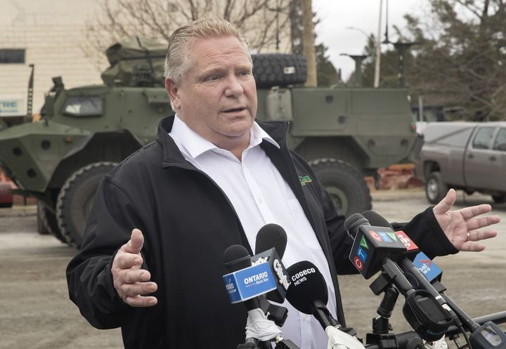 Ontario Premier Doug Ford speaks to media in Bracebridge, Ont., on May 3, 2019.