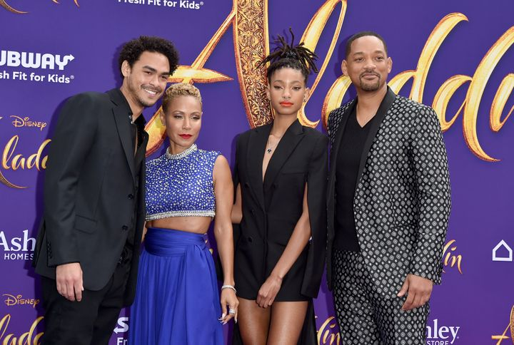 "Trey Smith, Jada Pinkett Smith, Willow Smith and Will Smith — but no Jaden Smith — at the premiere of Disney's ""A"