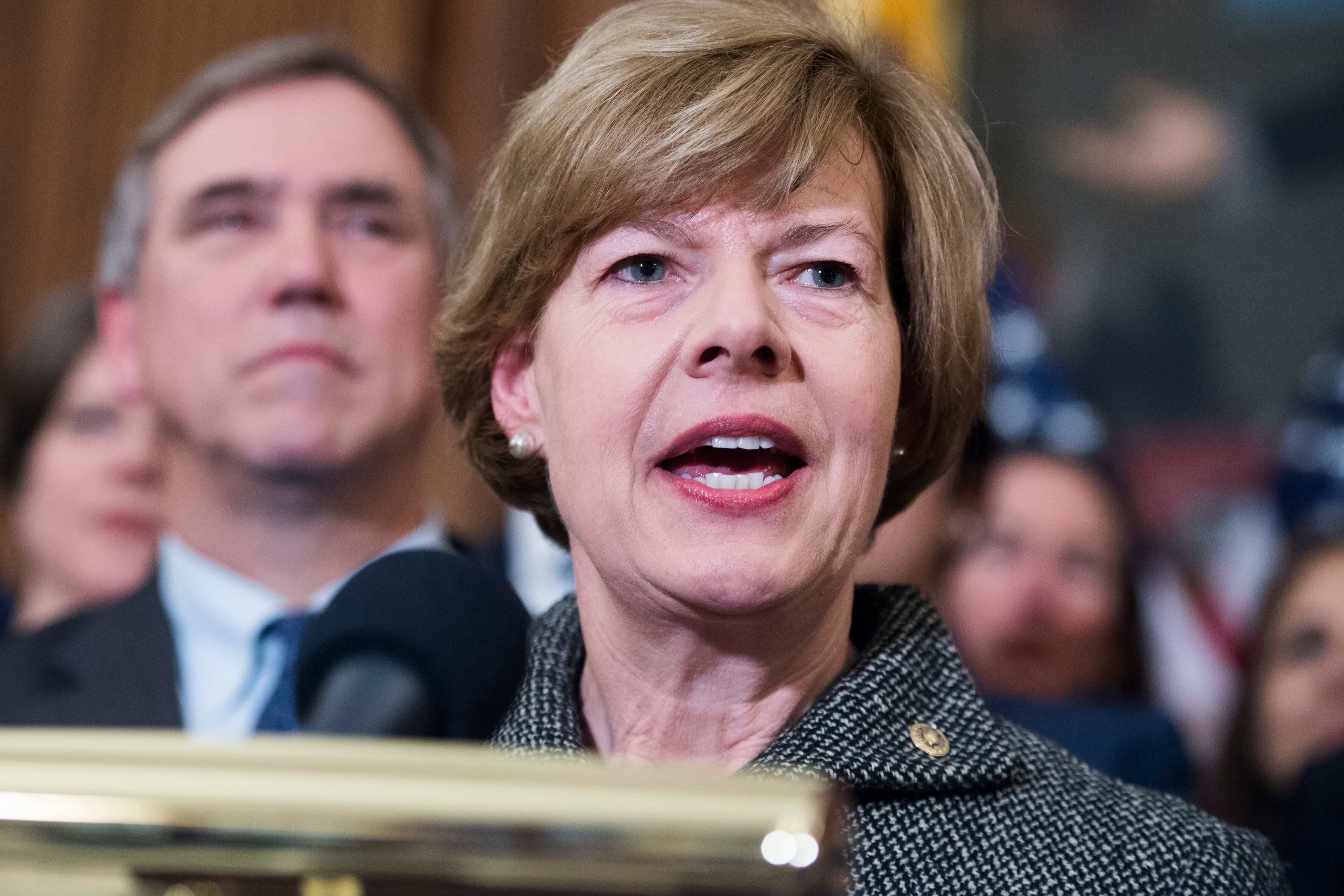 "UNITED STATES - MARCH 13: Sen. Tammy Baldwin, D-Wis., attends a rally with Democrats in the Capitol to introduce the ""Equality Act,"" which will amend existing civil rights legislation to bar discrimination based on gender identification and sexual orientation on Wednesday, March 13, 2019. (Photo By Tom Williams/CQ Roll Call)"