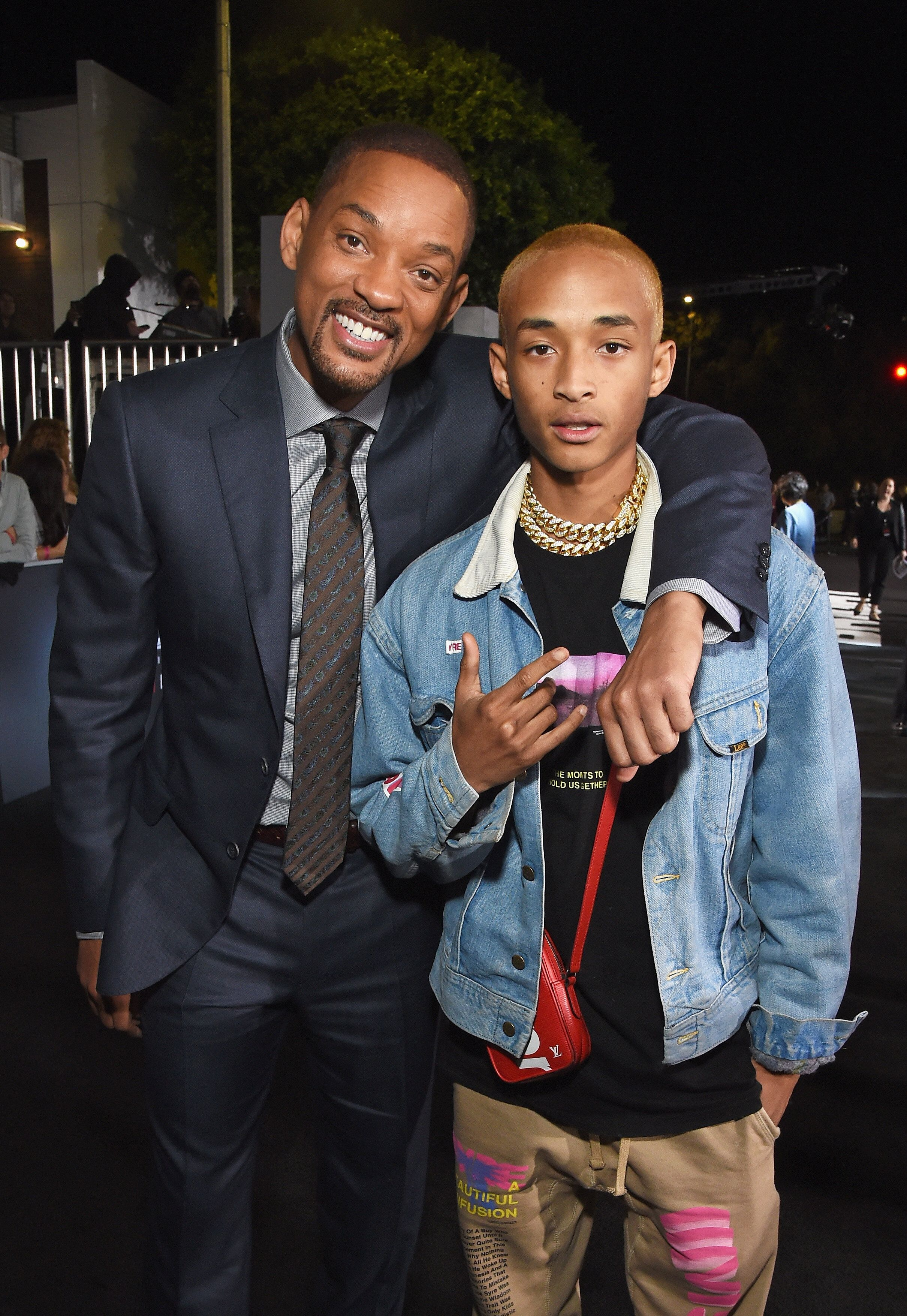 LOS ANGELES, CA - DECEMBER 13:  Will Smith (L) and Jaden Smith attend the LA Premiere of Netflix Films 'BRIGHT' on December 13, 2017 in Los Angeles, California.  (Photo by Michael Kovac/Getty Images for Netflix)
