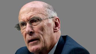 Dan Coats, as US Director of National Intelligence, testifies at Senate Armed Services Committee hearing on worldwide threats, graphic element on gray