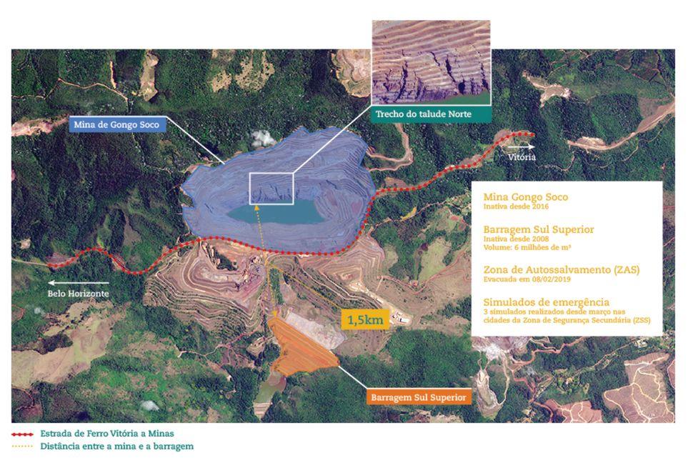 Infográfico disponível no site da Vale mostra mapa da mina Gongo Seco e da barragem que...