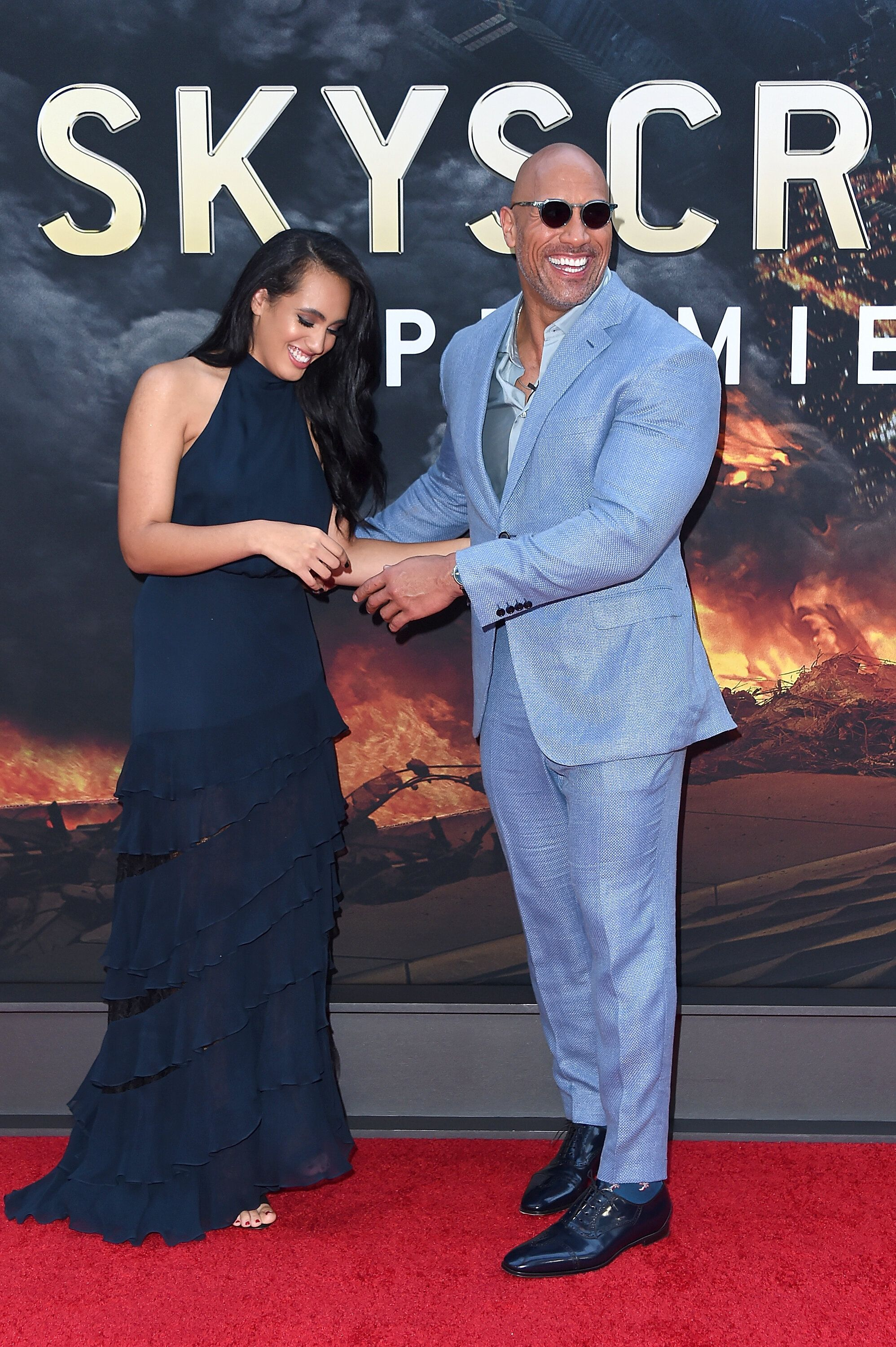 NEW YORK, NY - JULY 10:  Dwayne Johnson and his daughter Simone Garcia Johnson attend the 'Skyscraper' New York Premiere at AMC Loews Lincoln Square on July 10, 2018 in New York City.  (Photo by Michael Loccisano/Getty Images)