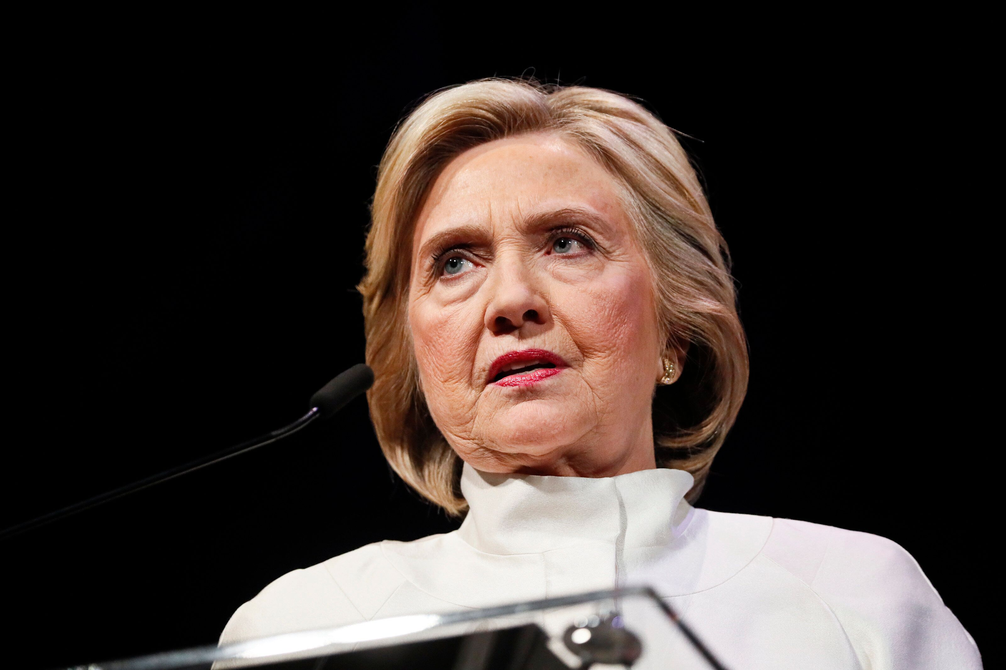 WASHINGTON, DC - APRIL 24: Former Secretary of State Hillary Clinton speaks at the 18th annual Vital Voices Global Leadership Awards at The Kennedy Center on April 24, 2019 in Washington, DC. (Photo by Paul Morigi/Getty Images)