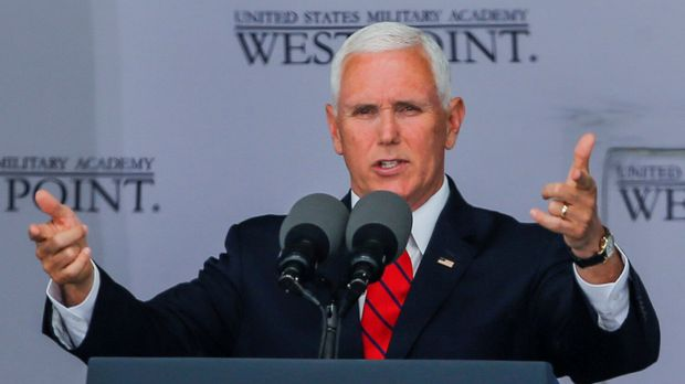 U.S. Vice President Mike Pence speaks to graduates of the United States Military Academy during the commencement ceremony in West Point, New York, U.S., May 25, 2019. REUTERS/Eduardo Munoz
