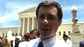 "Democratic presidential candidate Pete Buttigieg speaks to reporters outside the US Supreme Court as pro-choice activist rally in Washington, DC, on May 21, 2019. - Demonstrations were planned across the US on Tuesday in defense of abortion rights, which activists see as increasingly under attack. The ""Day of Action"" rallies come after the state of Alabama passed the country's most restrictive abortion ban, prohibiting the procedure in all cases, even rape and incest, unless the mother's life is at risk. Alabama is among about 14 states which have adopted laws banning or drastically restricting access to abortion, according to activists. (Photo by Andrew Caballero-Reynolds / AFP)        (Photo credit should read ANDREW CABALLERO-REYNOLDS/AFP/Getty Images)"