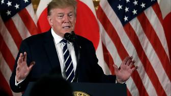 President Donald Trump speaks as he meets with Japanese business leaders, Saturday, May 25, 2019, in Tokyo. (AP Photo/Evan Vucci)