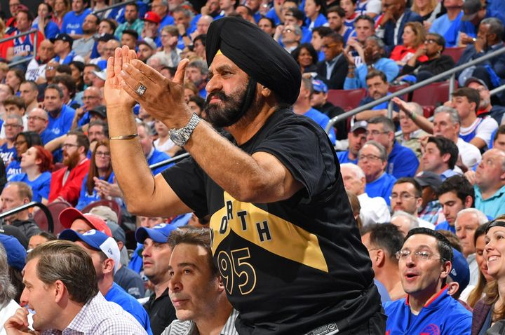 Nav Bhatia attends a game between the Toronto Raptors and the Philadelphia 76ers on May 2, 2019 at the Wells Fargo Center in Philadelphia.
