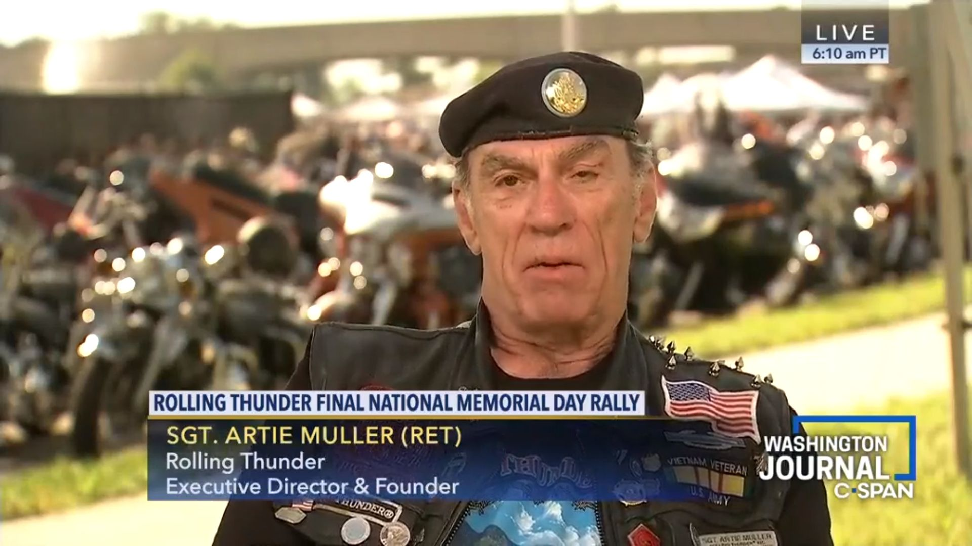 Sgt. Artie Muller, Rolling Thunder's founder and executive director, expressed surprise upon hearing President Trump's claim to have worked out a deal with his organization to continue the annual run through the nation's capital.