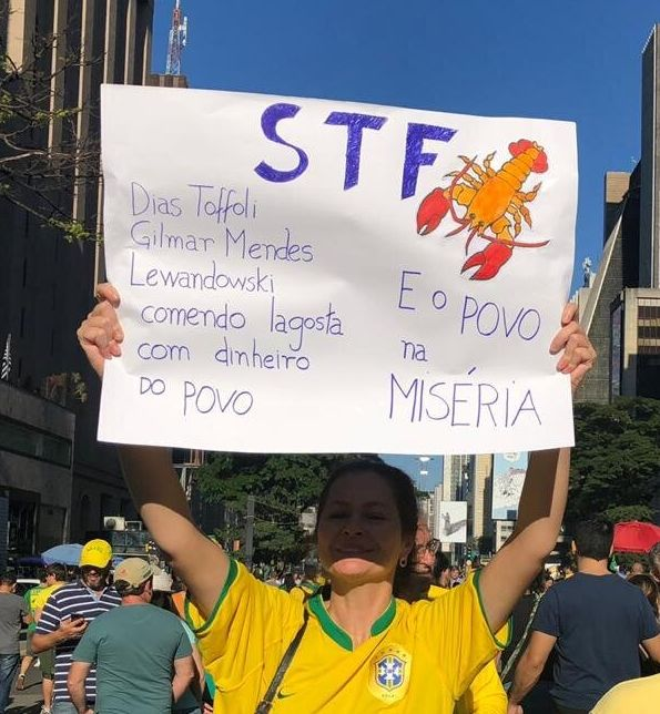 Cartaz na manifestação pró-Bolsonaro de domingo