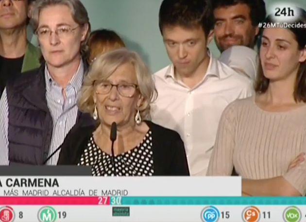 La reacción de Rita Maestre junto a Manuela Carmena resume la noche